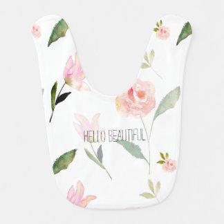 Hello Beautiful Watercolor Floral Baby Bib