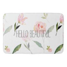 Hello Beautiful Watercolor Floral Bathroom Mat