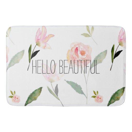 Hello Beautiful Watercolor Floral Bathroom Mat Zazzle
