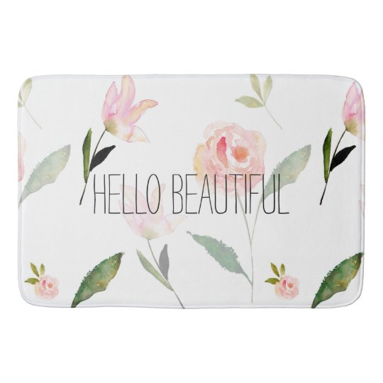Hello Beautiful Watercolor Floral Bathroom Mat Zazzle Com