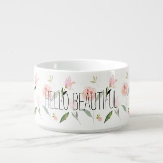 Hello Beautiful Watercolor Floral Chili Bowl
