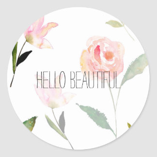 Hello Beautiful Watercolor Floral Classic Round Sticker