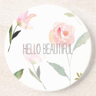 Hello Beautiful Watercolor Floral Coaster
