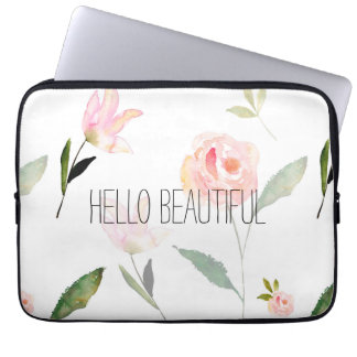 Hello Beautiful Watercolor Floral Computer Sleeve