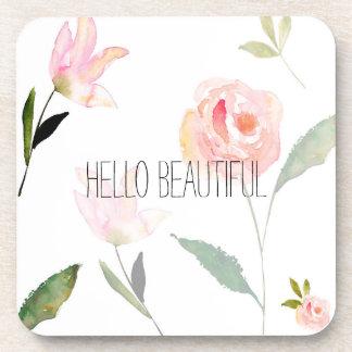 Hello Beautiful Watercolor Floral Coasters