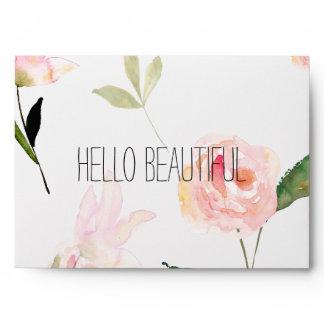 Hello Beautiful Watercolor Floral Envelope