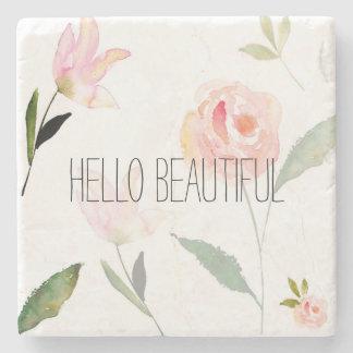 Hello Beautiful Watercolor Floral Stone Coaster