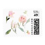 Hello Beautiful Watercolor Floral Gold Love Postage Stamp