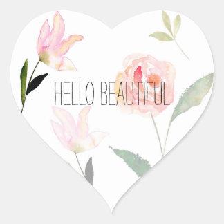 Hello Beautiful Watercolor Floral Heart Sticker