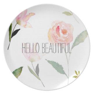 Hello Beautiful Watercolor Floral Melamine Plate
