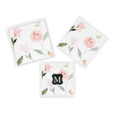 Hello Beautiful Watercolor Floral Monogram Acrylic Tray