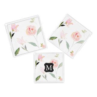 Hello Beautiful Watercolor Floral Monogram Acrylic Tray
