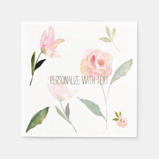 Hello Beautiful Watercolor Floral Napkin