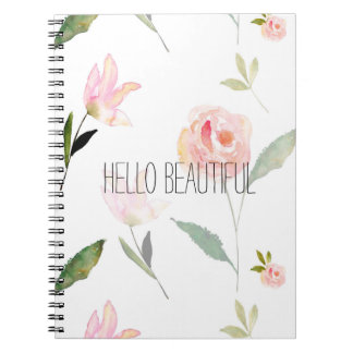 Hello Beautiful Watercolor Floral Notebook
