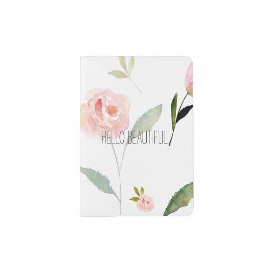 Hello Beautiful Watercolor Floral Passport Holder Zazzle Com