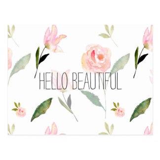 Hello Beautiful Watercolor Floral Postcard