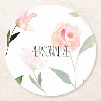 Hello Beautiful Watercolor Floral Round Paper Coaster