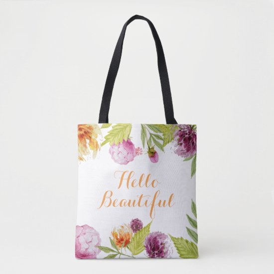 Hello Beautiful Watercolor Garden Flowers Tote Bag