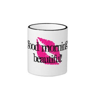 Hello Beautiful with Pink Lipstick Ringer Coffee Mug
