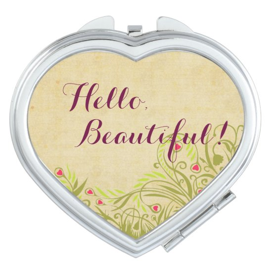 Hello, Beautiful! with Spring Flowers Makeup Mirror