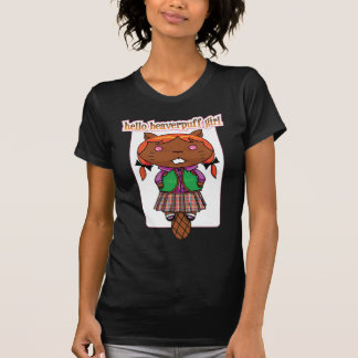 """Hello Beaverpuff Girl"" Ladies Chocolate Ringer T-Shirt"