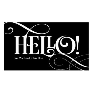 Hello! Black and White Business Card