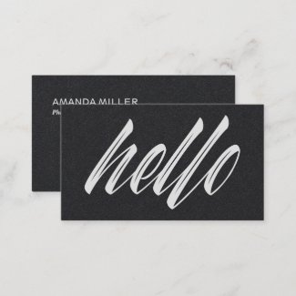 Hello Black and White Minimalist Modern Script Business Card