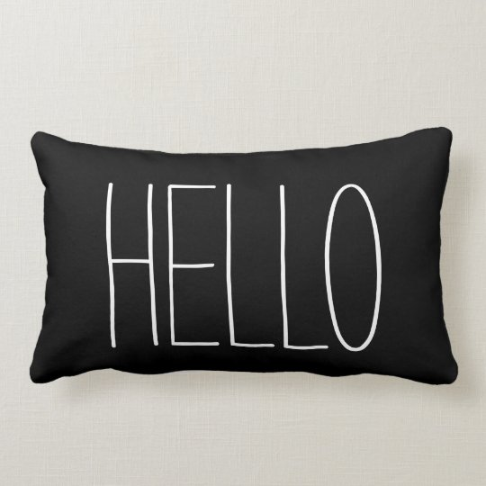 hello black and white typography quote lumbar pillow. Black Bedroom Furniture Sets. Home Design Ideas