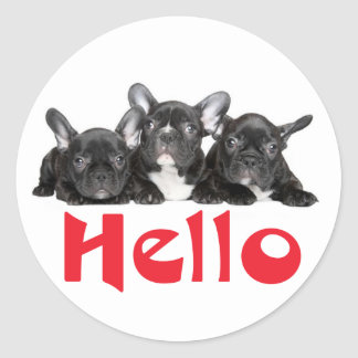 Hello Black French Bulldog Puppy Dog Sticker Seal