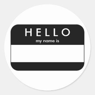 Hello Black Name Tag Sticker