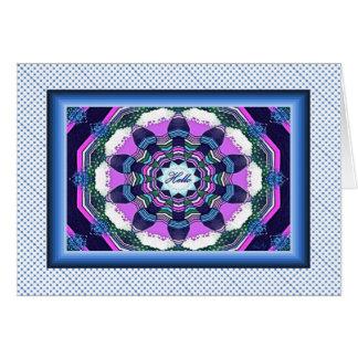 Hello Blue and Pink  Mandala Note Card