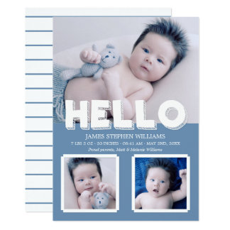Hello Blue Baby Announcement Photo Collage