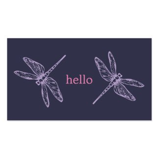 Hello blue purple dragonflies insects illustration business card