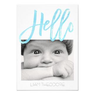 Hello Blue Watercolor 3-Photo   Birth Announcement