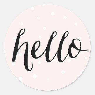 Hello! Blush Polka Dots Sticker