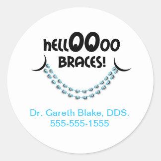 Hello Braces Blue Orthodontist Patient Custom Classic Round Sticker