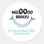 Hello Braces Blue Orthodontist Patient Custom Round Sticker