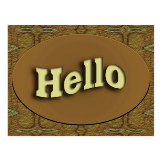 Hello brown design postcard