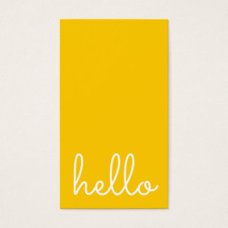 Hello | Casual Modern White & Yellow Business Card