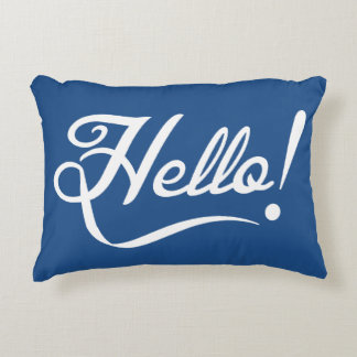 Hello Classic Blue Accent Pillow