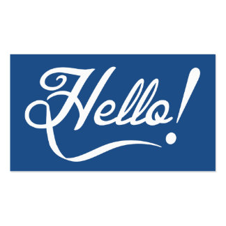 Hello Classic Blue Double-Sided Standard Business Cards (Pack Of 100)