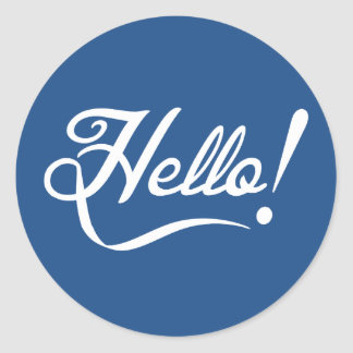 Hello Classic Blue Classic Round Sticker
