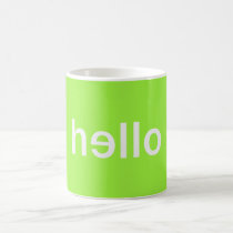 hello, minimalist, cool, typography, funny, words, unique, original, green, fun, welcome, hip, boho, minimalism, color, mug, Caneca com design gráfico personalizado