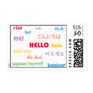 Hello Colorful Pink Blue Purple Yellow Orange Postage