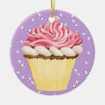 Hello Cupcake ! Double-Sided Ceramic Round Christmas Ornament