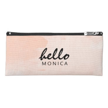 Beach Themed Hello   Custom Name Watercolor Pastel Peach Pencil Case