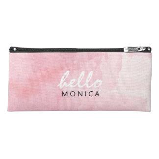 Hello + Custom Name Watercolor Pastel Pink Pencil Case