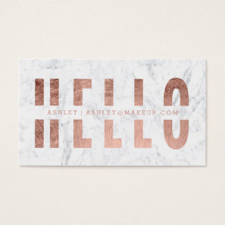 Hello cut out rose gold typography marble business card