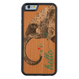 Hello Cute Colorful Elephant with Damask Pattern Carved® Cherry iPhone 6 Bumper