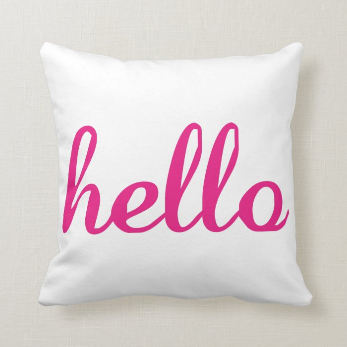 Photo Throw Pillow Gifts : Hello Cute Colorful Hello Gifts Throw Pillow Zazzle